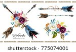 watercolor boho floral... | Shutterstock . vector #775074001