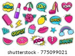 set of cute fashion patches ... | Shutterstock .eps vector #775099021