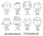 happy kid cartoon doodle | Shutterstock . vector #775109419