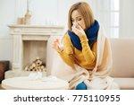 taking drugs. cheerless unwell... | Shutterstock . vector #775110955