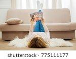 fashion magazine. blond long... | Shutterstock . vector #775111177