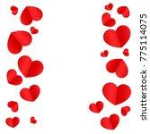 paper hearts origamy confetti ... | Shutterstock .eps vector #775114075