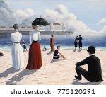 atlantic city beach with pier... | Shutterstock . vector #775120291
