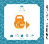 kettlebell and barbell icon | Shutterstock .eps vector #775142689