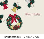 christmas icons hand drawn... | Shutterstock .eps vector #775142731