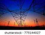 sunset silhouette of pylon  | Shutterstock . vector #775144027