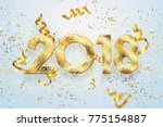 2018 happy new year. gold... | Shutterstock . vector #775154887