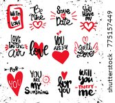 set of love hand drawn quotes... | Shutterstock .eps vector #775157449