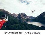 asian woman photographer flying ... | Shutterstock . vector #775164601