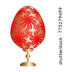 red easter egg with gold floral ... | Shutterstock .eps vector #775179499