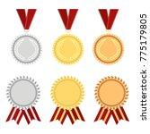 award rosette gold  silver and... | Shutterstock .eps vector #775179805