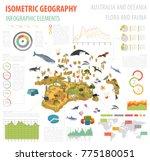 isometric 3d australia and... | Shutterstock .eps vector #775180051