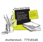 page layout with pencils ... | Shutterstock .eps vector #77518168