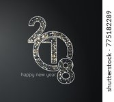 2018 and new year typography... | Shutterstock .eps vector #775182289