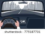 view of the road from the car... | Shutterstock . vector #775187731