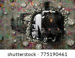 the train leaves from the wall. ... | Shutterstock . vector #775190461