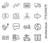 thin line icon set   diagram ... | Shutterstock .eps vector #775193479