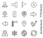 thin line icon set   share ... | Shutterstock .eps vector #775196131