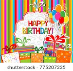happy birthday  greeting card.... | Shutterstock .eps vector #775207225