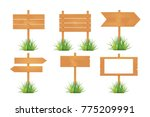 wooden blank board signs spring ... | Shutterstock .eps vector #775209991