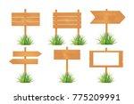 wooden blank board signs spring ... | Shutterstock .eps vector #775209991