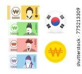 set of south korean won  krw ... | Shutterstock .eps vector #775213309