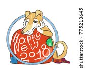 yellow dog for new year 2018 ... | Shutterstock . vector #775213645