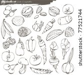vector set   doodles   fruits... | Shutterstock .eps vector #77521744