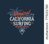 california surfing typography.... | Shutterstock .eps vector #775221784