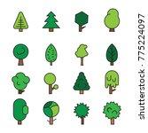 set forest trees  evergreens... | Shutterstock .eps vector #775224097