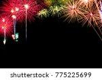 colorful fireworks on black...   Shutterstock . vector #775225699