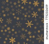 orange snowflakes seamless... | Shutterstock .eps vector #775232659