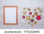 christmas composition. empty... | Shutterstock . vector #775232845
