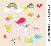 set of cute sticker with unicorn | Shutterstock .eps vector #775234825