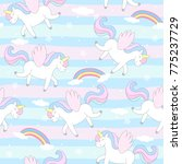 Stock vector cute hand drawn unicorn vector pattern vector illustration 775237729