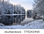 River Landscape And Spruce Tre...