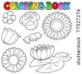 Coloring Book With Flowers Set...