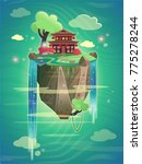 chinese pagoda on a mountain... | Shutterstock .eps vector #775278244