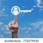 hand pressing businessman with... | Shutterstock . vector #775279435