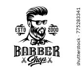 barbershop hairstyle man label... | Shutterstock .eps vector #775283341