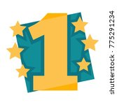 number one emblem with stars... | Shutterstock .eps vector #775291234