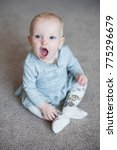 cute funny baby girl laughting... | Shutterstock . vector #775296679
