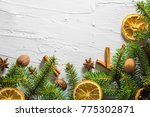 christmas white background with ... | Shutterstock . vector #775302871