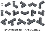 isometric pipes in steel colors. | Shutterstock .eps vector #775303819