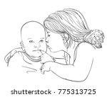 sketch of 5 year old girl... | Shutterstock .eps vector #775313725