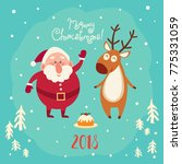 cute santa and deer on blue... | Shutterstock .eps vector #775331059