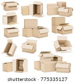 empty cardboard boxes on a... | Shutterstock .eps vector #775335127