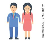 a newly wed couple standing...   Shutterstock .eps vector #775348579