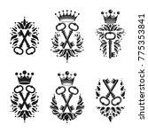 ancient keys emblems set.... | Shutterstock .eps vector #775353841