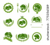 broccoli labels and elements... | Shutterstock .eps vector #775356589